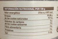 Aceite De Coco Virgen Eco Veritas 270ML - Información nutricional