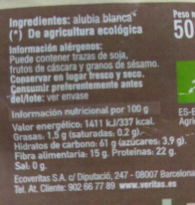 Alubia blanca veritas - Información nutricional
