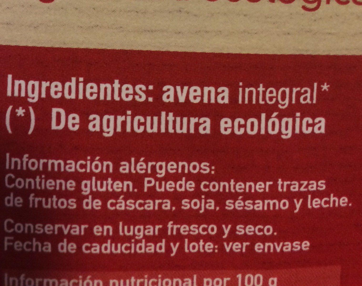 Copos finos de Avena - Ingrédients - es