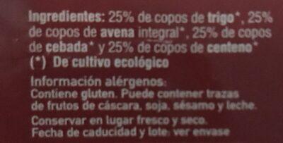 Copos 4 Cereales - Ingrédients - fr