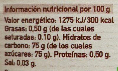 Sirope De agave Eco - Información nutricional