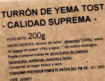 Turron - Ingredientes - es