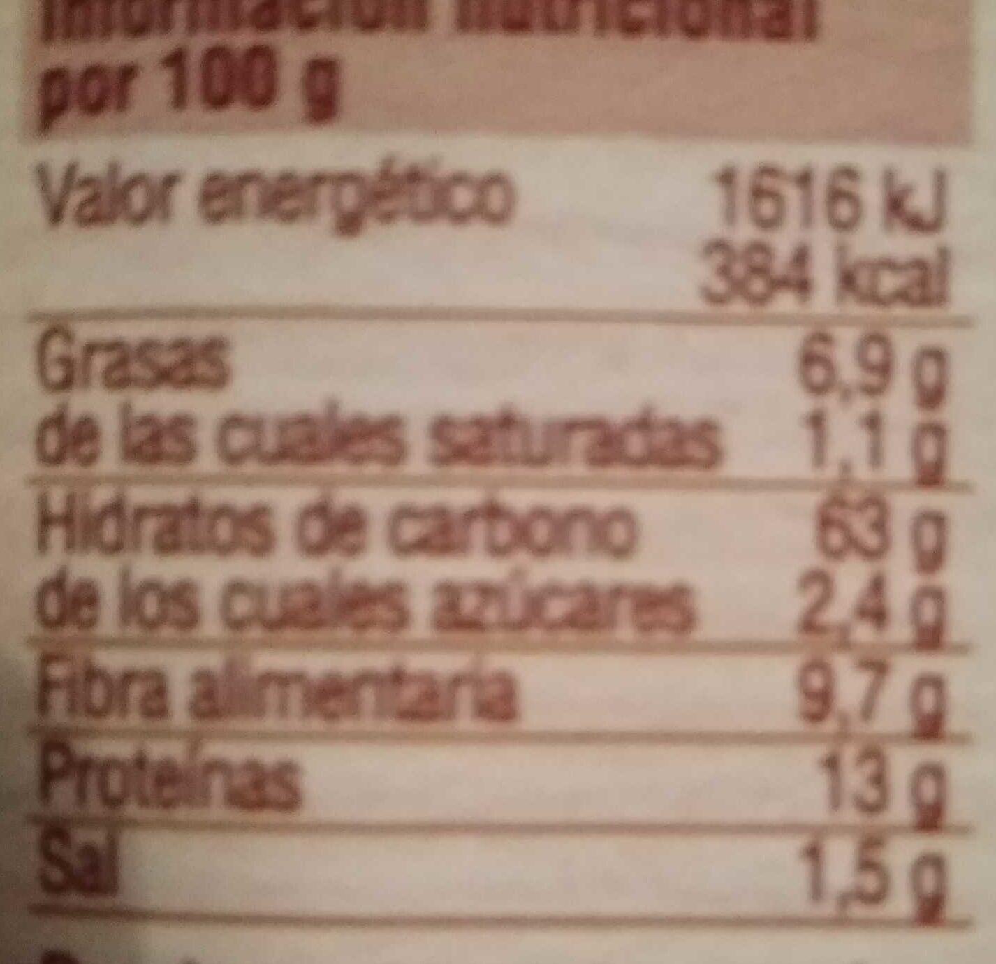 Grissini integral - Información nutricional - es