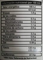 Bebida de soja + calcio - Nutrition facts
