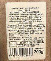 Turron ecologico - Información nutricional