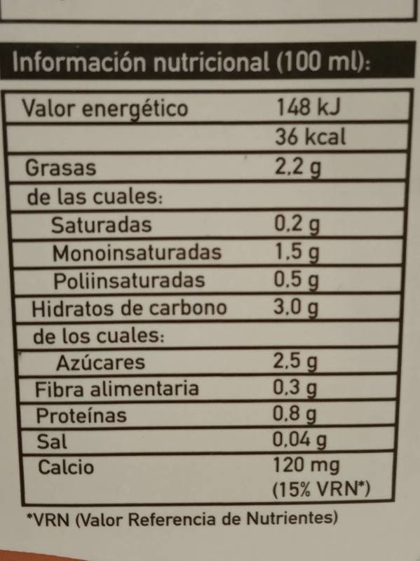 Bebida de almendra + calcio - Informations nutritionnelles - es