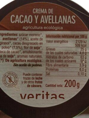 Crema de cacao y avellanas - Voedingswaarden