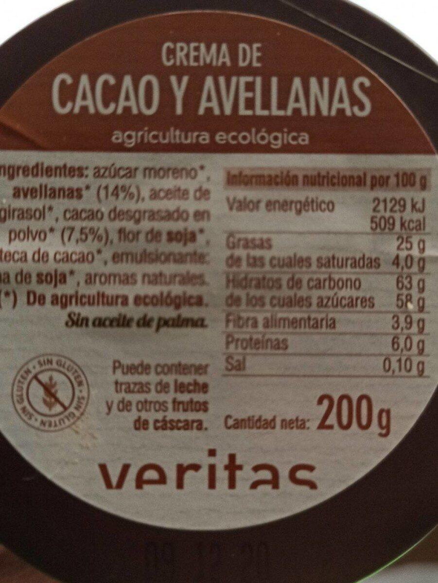 Crema de cacao y avellanas - Informations nutritionnelles - fr
