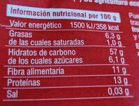 Muesli de avena con frutos rojos - Información nutricional - es