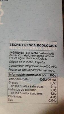 Yogur griego natural ecologico - Información nutricional