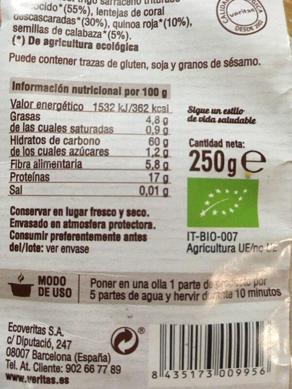 Mix sarraceno lentejas - Información nutricional