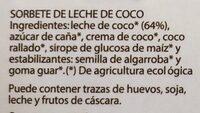 Sorbete de leche de coco - Ingredientes