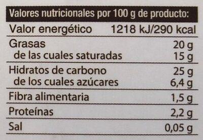 Sorbete de leche de coco - Información nutricional