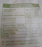 Pistacho bio auchan - Informations nutritionnelles - es