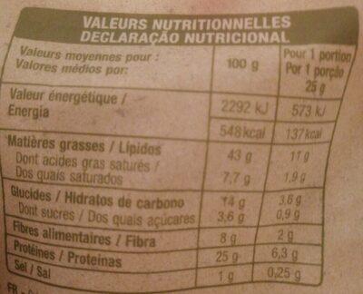 Cacahuètes grillées et salées - Informations nutritionnelles - es