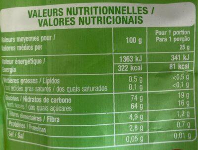 Raisins secs sultanines - Informations nutritionnelles - fr