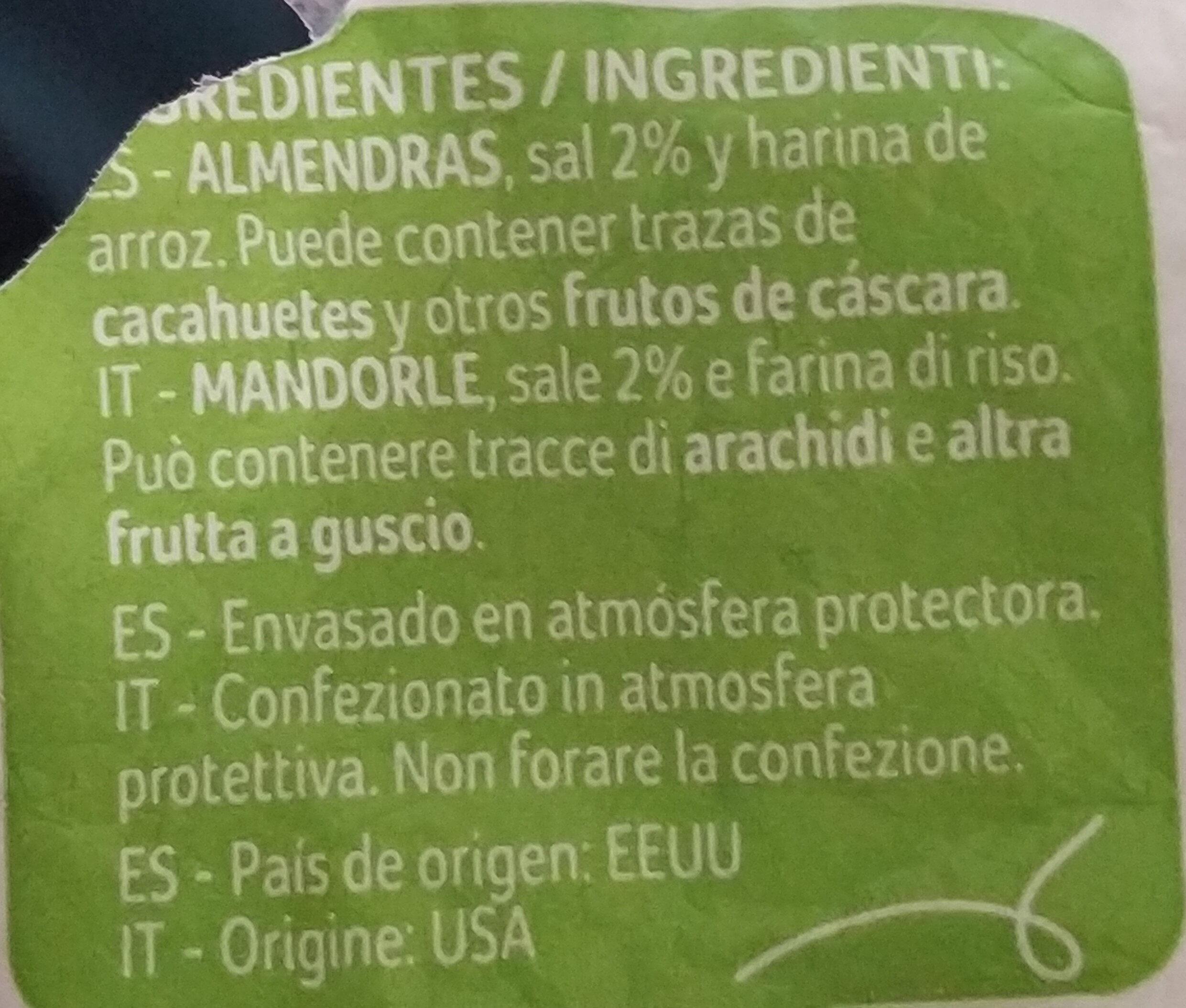 Almendras con piel tostadas y saladas - Ingredientes - es