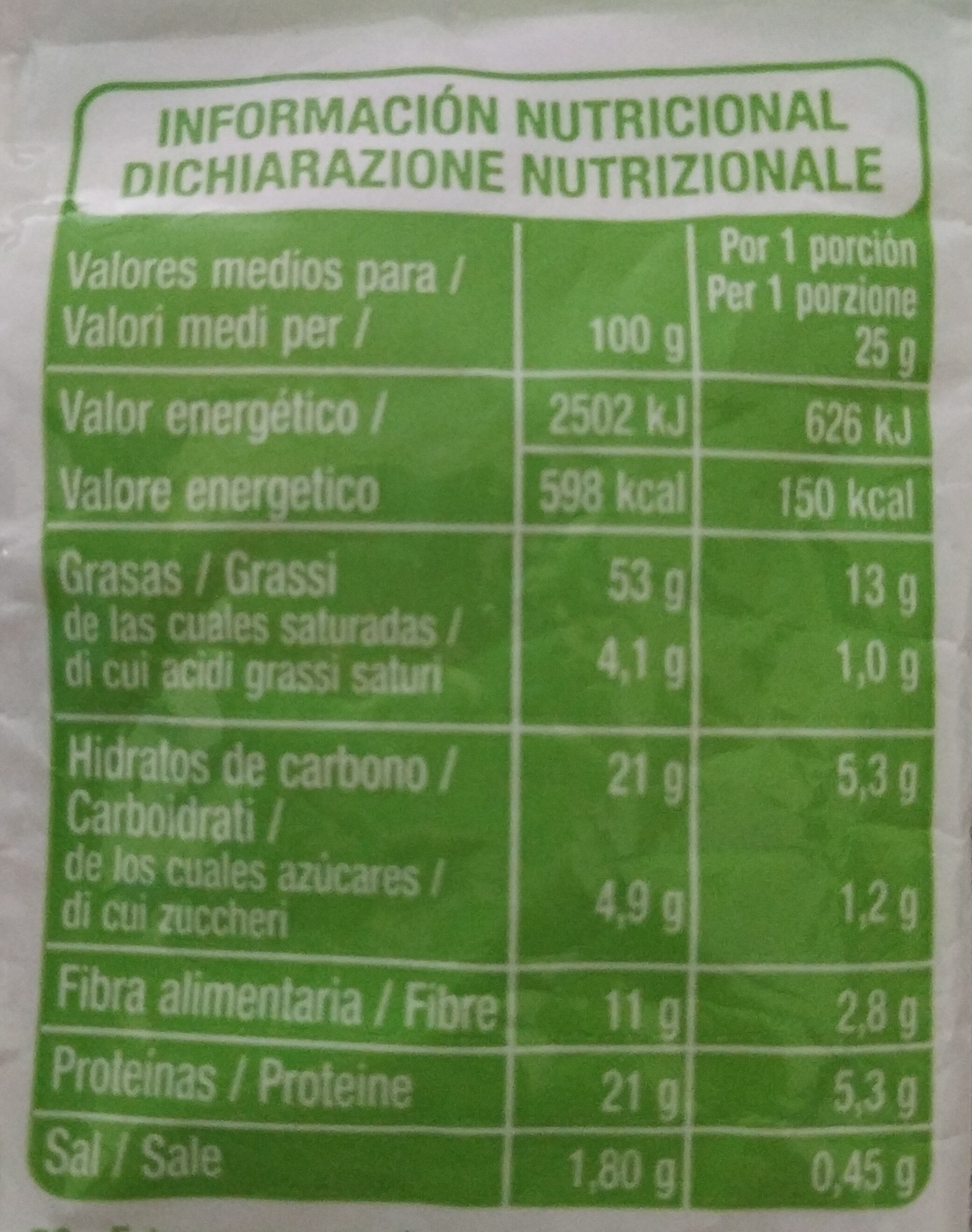 Almendras con piel tostadas y saladas - Información nutricional - es
