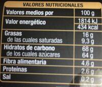 Naranjas Chocolate negro - Valori nutrizionali - es