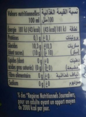 Orangina - Informations nutritionnelles