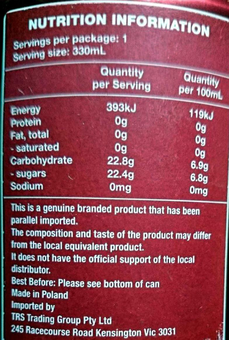 Dr Pepper - Пищевая и энергетическая ценность - en