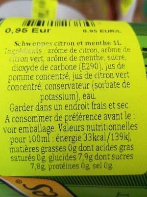 Schweppes lemon mint - Ingredientes - fr