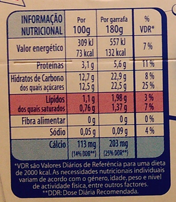 Yoggi Original Morango e Banana - Nutrition facts
