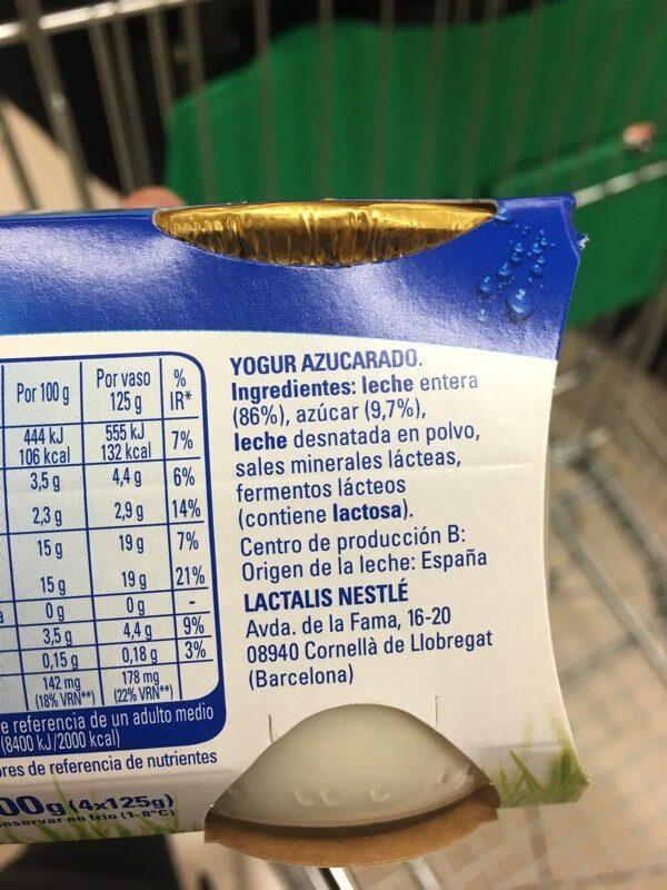 Yogur natural azucarado - Ingrédients - es