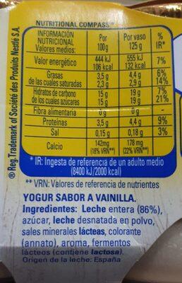 Yogur sabor vainilla - Informació nutricional