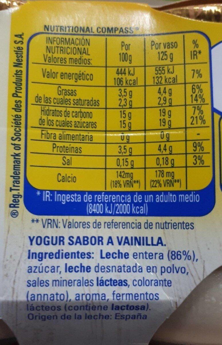 Yogur sabor vainilla - Informació nutricional - fr