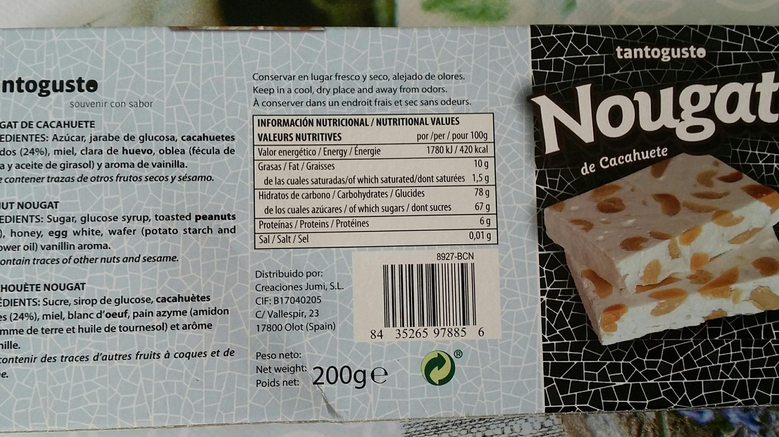 nougat de cacahuetes - Product - fr