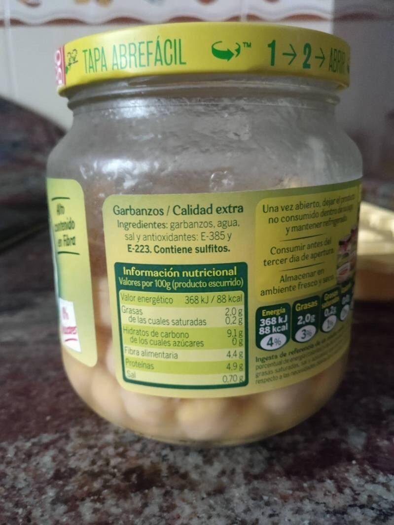 Garbanzos Extra - Información nutricional