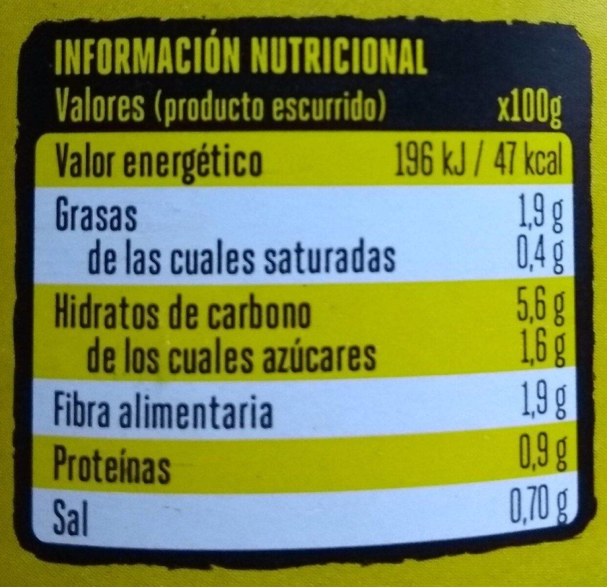 Ensalada campera - Información nutricional