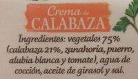 Crema de calabaza con legumbres envase 340 g - Ingrédients - es