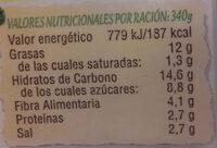 Crema de calabaza con legumbres envase 340 g - Informations nutritionnelles - es