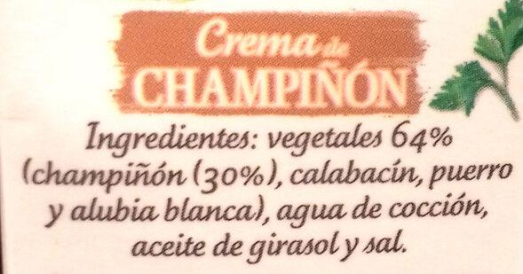 Crema de champiñón - Ingredients