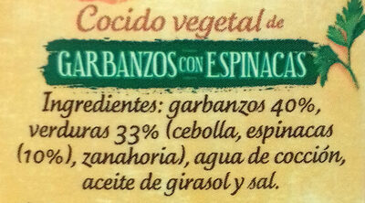 Cocido vegetal de garbanzos con espinacas - Ingredientes