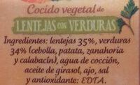 Cocido vegetal lentejas con verduras - Ingrédients - es