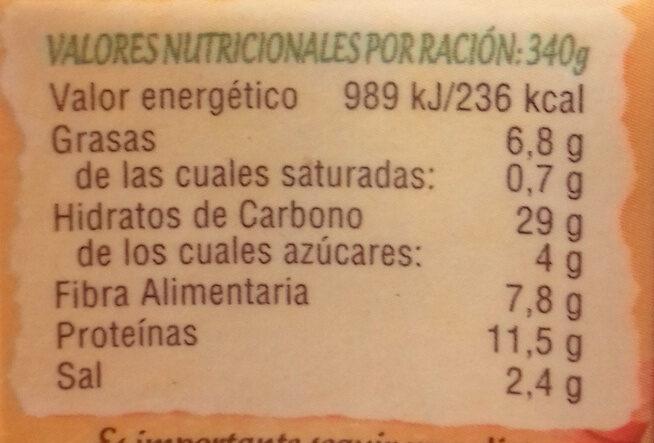 Cocido vegetal lentejas con verduras - Informations nutritionnelles - es