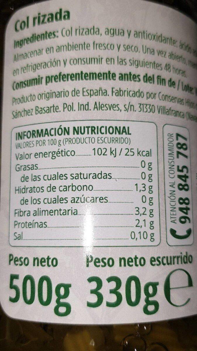 Kale col rizada - Información nutricional - es