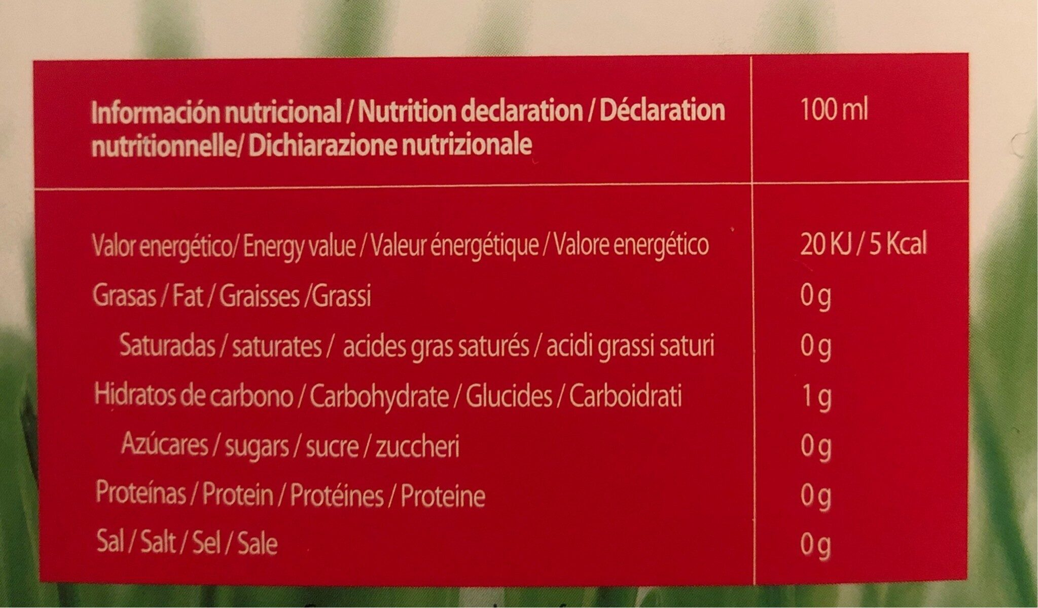 Natural ice tea - Nutrition facts