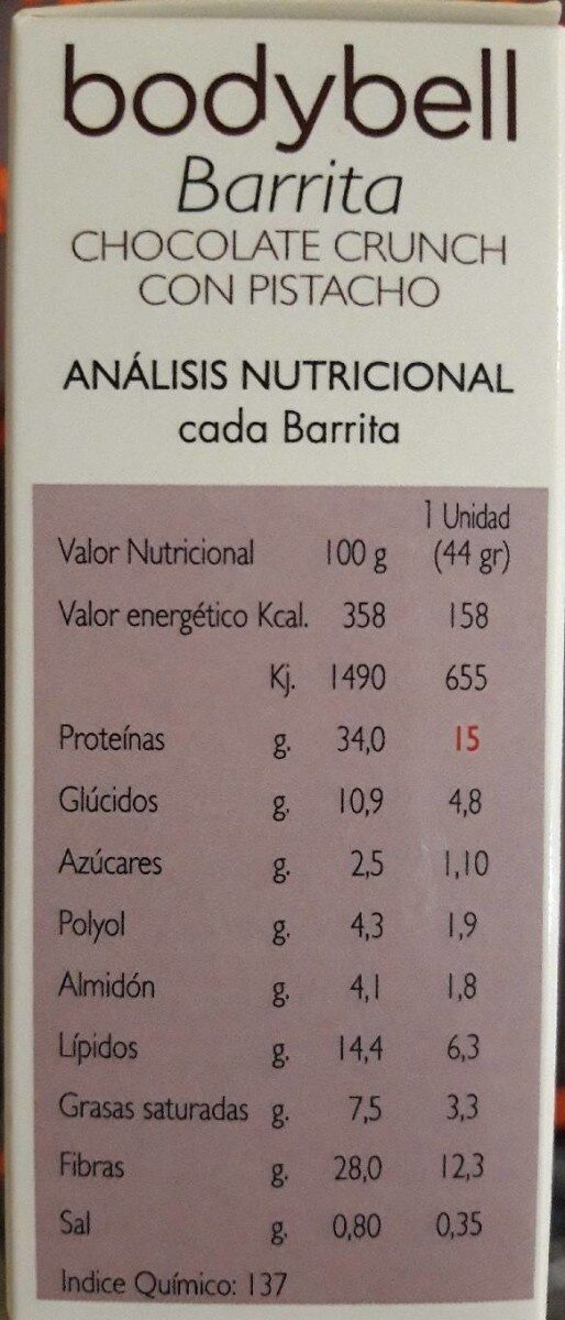 barritas crunch - Nutrition facts