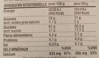 Biscuits à l'épeautre, Trois chocolats Yaourt - Nutrition facts