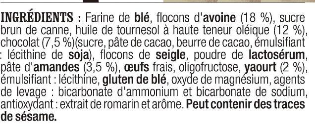 Barre a l'avoine, a l'amande au chocolat et au yaourt - Ingredients - fr