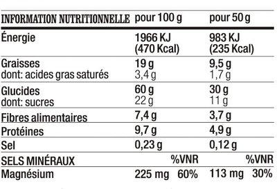 Barre a l'avoine, a l'amande au chocolat et au yaourt - Nutrition facts - fr