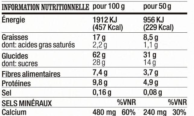 Barres à l'avoine au Cacao, à l'Orange et au Soja - Voedingswaarden - fr