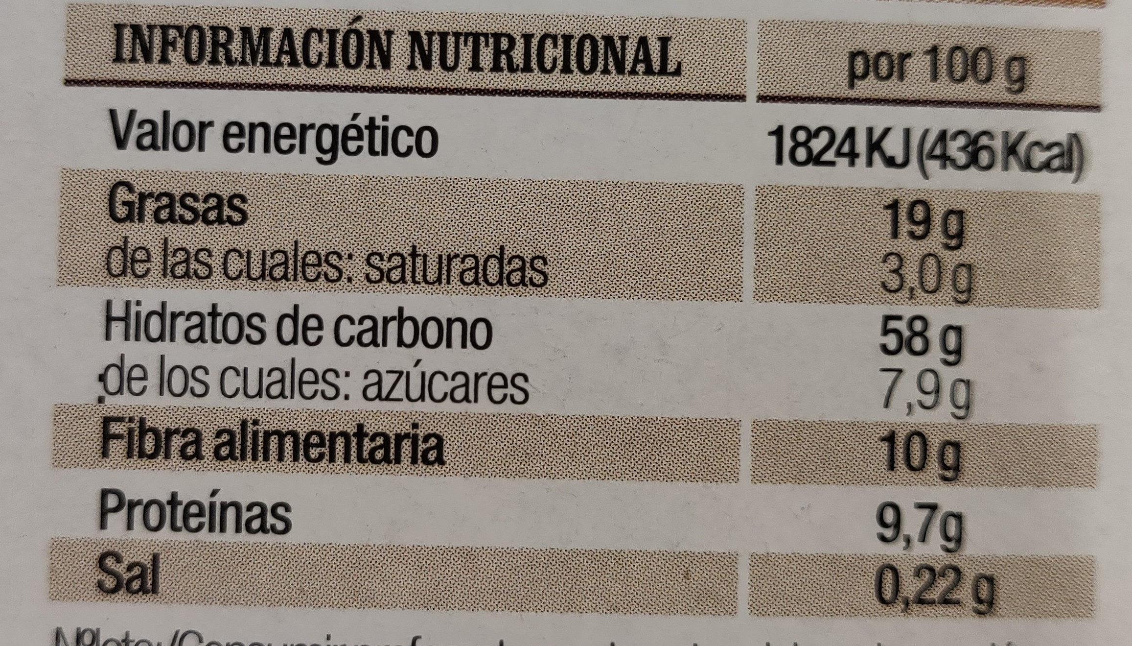 Barritas de Avena y Espelta - Informació nutricional - es