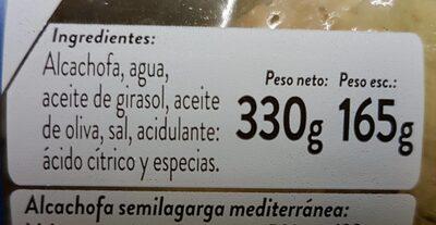 Alcachofa semilarga mediterránea - Información nutricional