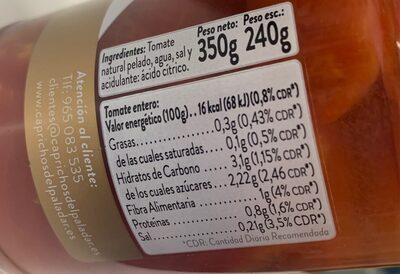 Tomate entero - Información nutricional