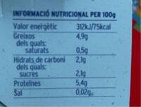 Iogurt ecológico natural de cabra - Nutrition facts - es